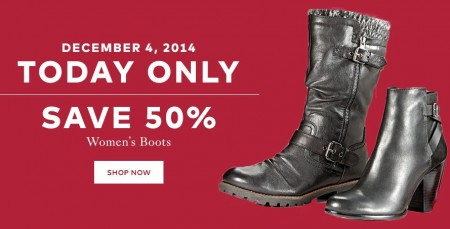TheBay One Day Sale - 50 Off Women's Boots (Dec 4)