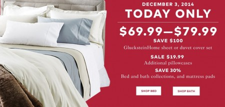 TheBay One Day Sale - $69.99-$79.99 for Gluckstein Home Sheet or Duvet Cover Set - Save $100 (Dec 3)