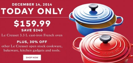 TheBay Today Only - $159.99 for Le Creuset 3.3L Cast-Iron French Oven - Save $240 (Dec 14)