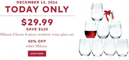 TheBay Today Only - $29.99 for Mikasa Cheers 8-Piece Stemless Wine Glass Set - Save $110 (Dec 13)