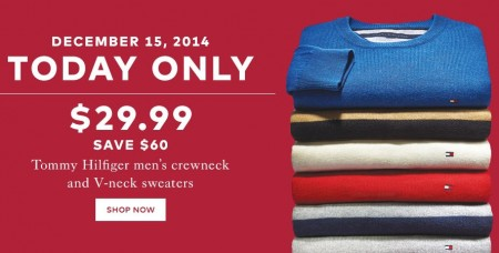 TheBay Today Only - $29.99 for Tommy Hilfiger Men's Sweaters - Save $60 (Dec 15)