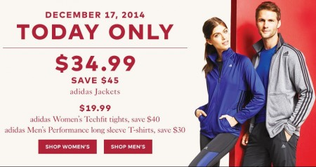 TheBay Today Only - $34.99 for Adidas Jackets - Save $45 (Dec 17)