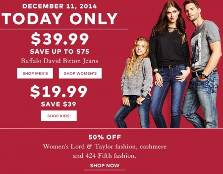 TheBay Today Only - $39.99 for Buffalo David Bitton Jeans - Save up to $75 (Dec 11)
