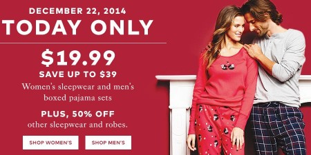 TheBay Today Only - 66 Off Women's Sleepwear and Men's Boxed Pajama Sets - Only $19.99 (Dec 22)