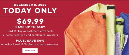 TheBay Today Only - $69.99 for Lord & Taylor Cashmere Sweaters - Save up to $109 (Dec 8)