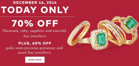 TheBay Today Only - 70 Off Diamond, Ruby, Sapphire and Emerald Fine Jewellery (Dec 16)