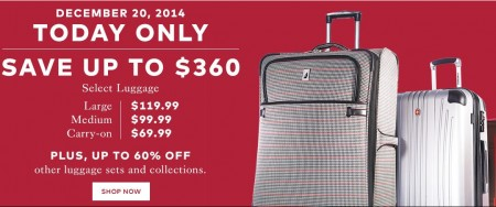 TheBay Today Only - Save up to $360 on Select Luggage (Dec 20)