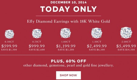 TheBay Today Only - Save up to 62 Off Effy Diamond Earrings with 18K White Gold (Dec 10)
