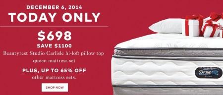 TheBay.com Today Only - Save $1,100 Off Beautyrest Studio Pillow Top Mattress Set (Dec 5)