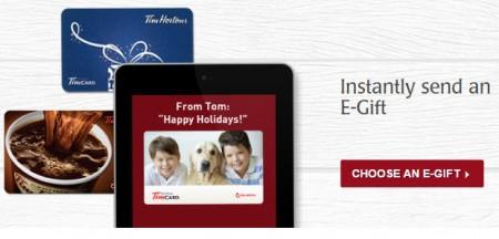 Tim Hortons Buy $25 E-Gift Card, Get $5 Bonus Card Free