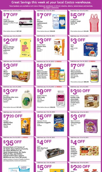 Costco Weekly Handout Instant Savings Coupons (Jan 12-18)