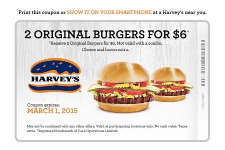 Harvey's 2 Original Burgers for $6 Coupon (Until Mar 1)
