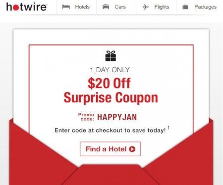 Hotwire 1-Day Only - $20 Off Surprise Promo Code (Jan 30)