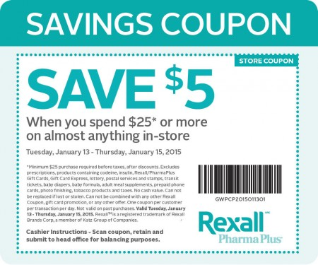 Rexall $5 Off Coupon when you Spend $25 (Jan 13-15)