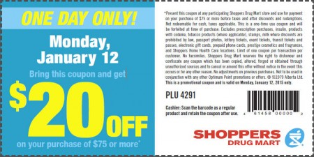 Shoppers Drug Mart $20 Off Coupon on Purchase of $75 or More (Jan 12)