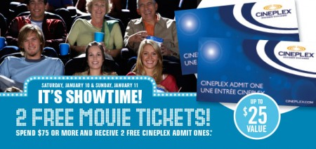 Shoppers Drug Mart Spend $75 and Get 2 Free Cineplex Movie Tickets (Jan 10-11)
