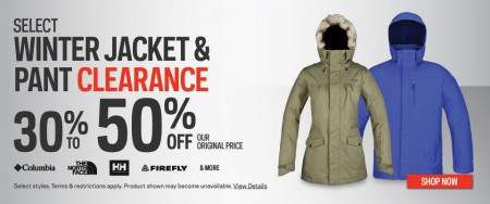 Sport Chek 30-50 Off Select Winter Jacket & Pant Clearance