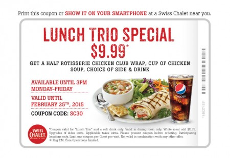 Swiss Chalet $9.99 Lunch Trio Special Coupon (Until Feb 25)
