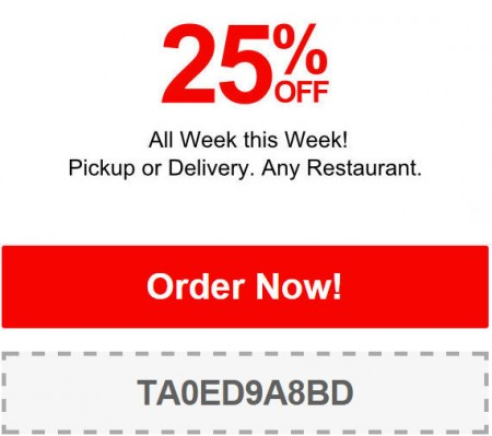 TasteAway Promo Code - 25 Off Any Restaurant Pickup or Delivery (Jan 12-18)