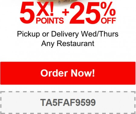 TasteAway Promo Code - 25 Off Any Restaurant Pickup or Delivery (Jan 21-22)