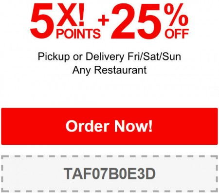 TasteAway Promo Code - 25 Off Any Restaurant Pickup or Delivery (Jan 29 - Feb 1)