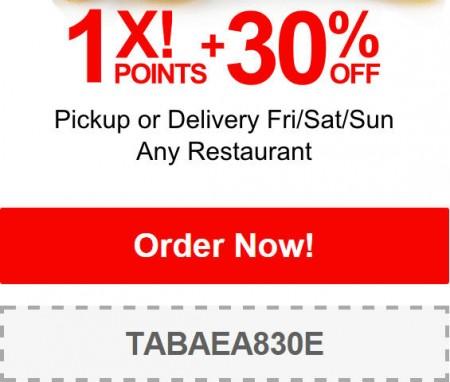 TasteAway Promo Code - 30 Off Restaurant Pickup or Delivery Orders (Jan 9-11)