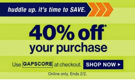 GAP 40 Off Your Purchase Promo Code (Feb 1-2)