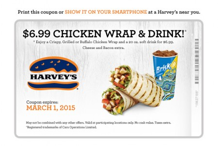 Harvey Printable Coupon- $6.99 for a Chicken Wrap & Soft Drink (Until Mar 1)