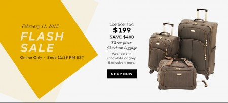 Hudson's Bay Flash Sale - 3-Piece Set of London Fog Luggage for only $199 (Feb 11 Only)