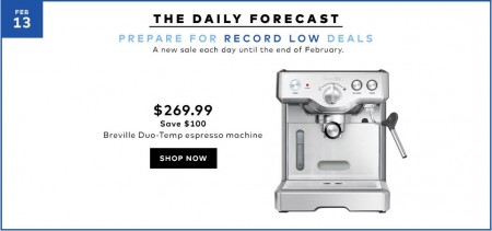 Hudson's Bay Today Only - $269.99 for Breville Duo-Temp Espresso Machine - Save $100 Off (Feb 13)