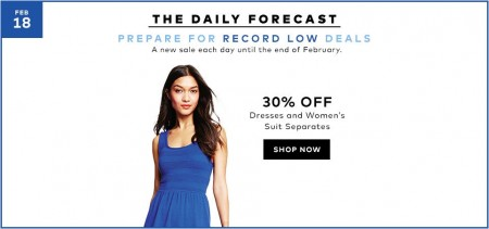 Hudson's Bay Today Only - 30 Off Dresses and Women's Suit Separates (Feb 18)