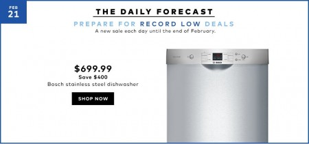 Hudson's Bay Today Only - $699.99 for Bosch Stainless Steel Dishwasher - Save $400 Off (Feb 21)