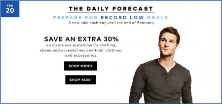 Hudson's Bay Today Only - Extra 30 Off Clearance Men's and Kids Clothing, Shoes and Accessories (Feb 20)