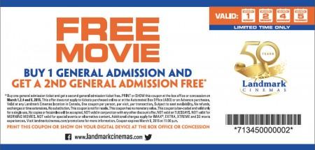 Landmark Cinemas BOGO Coupon - Buy One General Admission Get One FREE (Mar 1-5)