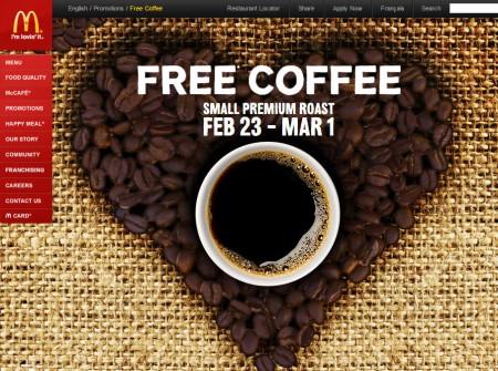 McDonalds Canada FREE Coffee (Feb 23- Mar 1)
