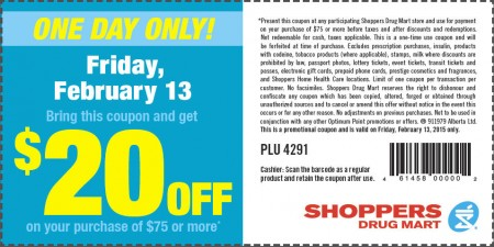 Shoppers Drug Mart $20 Off Coupon on Purchase of $75 or More (Feb 13)