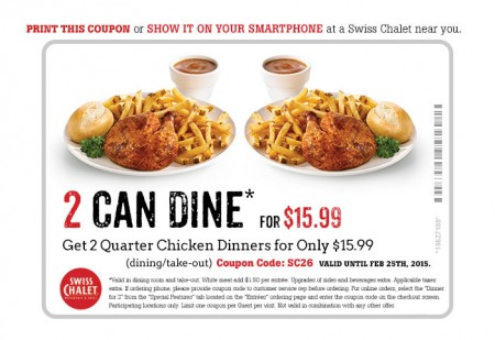 Swiss chalet coupon code 2018