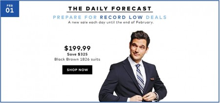 TheBay Today Only - $199.99 for Black Brown 1826 Suits - Up to 62 Off (Feb 1)