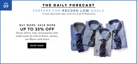 TheBay Today Only - Buy More, Save More - Up to 35 Off Dress Shirts, Ties, Underwear (Feb 9)