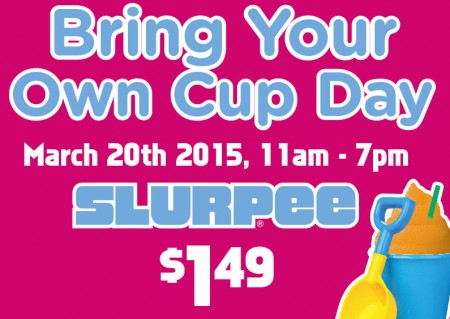7-Eleven Bring Your Own Cup Day - $1.49 for Any Cup Slurpee (Mar 20)