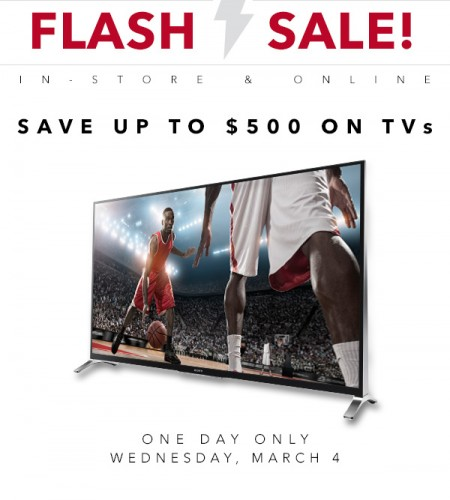 Best Buy Flash Sale - Save up to $500 on TVs (Mar 4)