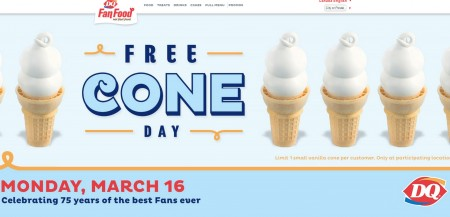Dairy Queen FREE Cone Day (Mar 16)