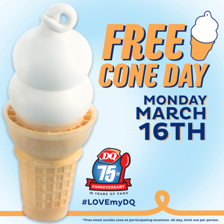Dairy Queen Today is FREE Cone Day (Mar 16)
