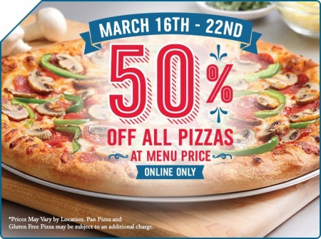 Domino's Pizza 50 Off Any Pizza at Menu Price (Mar 16-22)