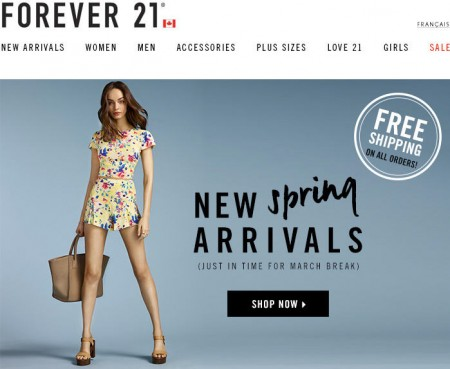 Forever 21 Free Shipping On All Orders (Mar 15-19)