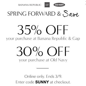 Gap & Banana Republic 35 Off Your Purchase, 30 Off Your Purchase at Old Navy (Mar 8-9)