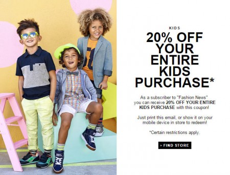 H&M 20 Off Your Entire Kids Purchase Coupon (Until Apr 6)