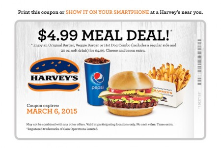 Harvey's $4.99 Meal Deal Coupon (Until Mar 6)