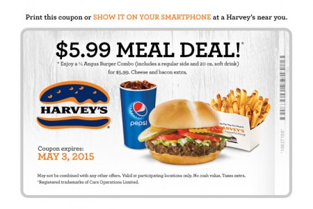Harvey's $5.99 Meal Deal Coupon (Until May 3)