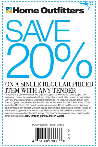 Home Outfitters 20 Off A Single Regular Priced Item Coupon (Until Mar 8)